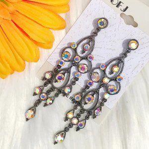 Boho Earrings Rhinestone Bling Tassel Dangles NWT